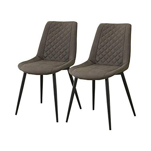 CLIPOP Esszimmerstühle 2er Set, Leder Polsterstuhl Küchenstühle, Polsterstühle mit Stühle Metallbeinen,Loungesessel für Zuhause und Büro, grau