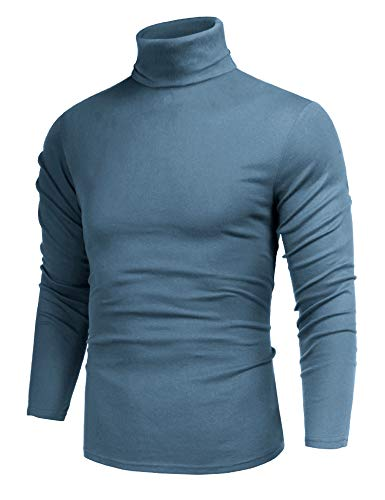 Mens Lightweight Long Sleeve Turtleneck Top Pullover Slim Fit Sweater Blue L