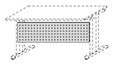 Schreibtisch-Sichtblende, für Verkettungsplatte 90°, alusilber