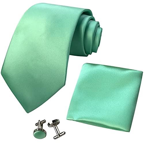 CANGRON Hombres Juego de Corbata verde manzana corbata con pañuelo caja regalo gemelos DLSC8QL