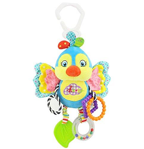 Baby Spielzeug, Isuper Hochwertiges Kleinkindspielzeug Plüschrassel mit Ringen zum Beißen, Greifen und Knistern- Papier, Spiegel für Babys Kleinkinder ab 0 Monat (Blauer Vogel)