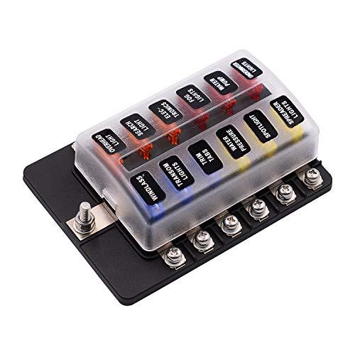 Gecheer Caja de Fusibles con Portafusibles de 12 Vías Bloque de Caja de Fusibles con Indicador de Advertencia LED Cubierta Impermeable Caja de Fusibles para Coche Barco RV DC 12-32