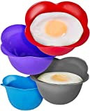 Silicone Egg Poaching Cups - Poaches Eggs To Perfection Without the Stress or Mess - Set of 4...