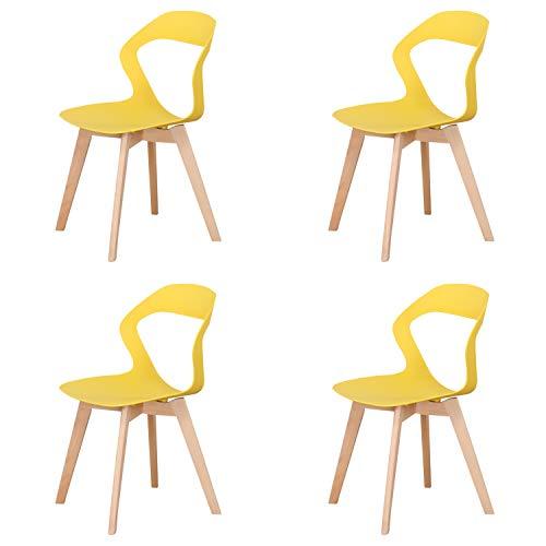 MeillAcc stühle 4er Set skandinavisch Stuhl, mit Rückenlehne aus Kunststoff im nordischen Stil, einfach und modern, für Wohnzimmer, Stuhl esszimmer, Büro, Konferenzraum,Gelb
