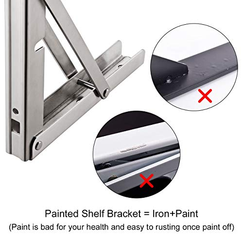 "YUMORE Shelf Bracket, Heavy Duty Stainless Steel Shelf Support Corner Brace Joint Right Angle Bracket (Type B - 24"" (Foldable))"