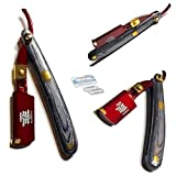 Special Edition Black, Gold, and Maroon Shaving Professional Straight Edge Razor Knife - Cut Throat Shavette - All Purpose Shaver