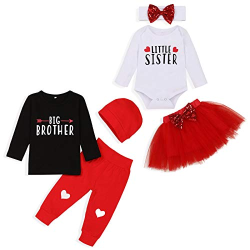 Baby Girl Boy Valentine's Day Outfits Big Brother Tees Little Sister Romper+Red Pants Tutu Skirt+Headband 3pc Outfits (White A, 3-6 Months)