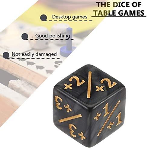 CamKpell 10x Würfelzähler 5 Positiv + 1 / + 1 & 5 Negativ -1 / -1 Für Magie Das Sammeltischspiel Lustige Würfel Hohe Qualität - Schwarz