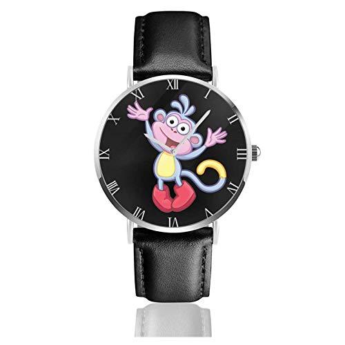 Armbanduhr Analog Quarz Ultra Dünn Business PU Leder Armband Uhren Dora The Explorer Boots