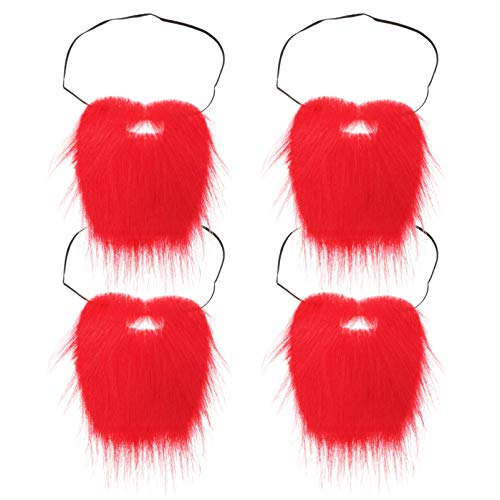 jojofuny 4 Sets Red Christmas Santa Claus Beard Leprechaun Beard Fake Mustache Rendimiento Divertido Accesorios para Fotos de Vello Facial para Vacaciones de Navidad Accesorios de
