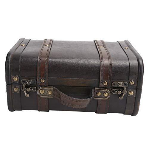 Caja decorativa, decoración de maleta de madera de gran capacidad interna, fuerte capacidad de carga única, hermosa y elegante para la decoración del hogar.