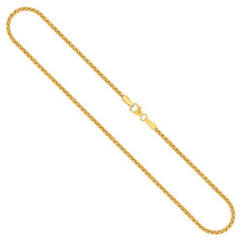 Goldkette, Zopfkette Gelbgold 375/9 K, Länge 50 cm, Breite 2.1 mm, Gewicht ca. 7.2 g, NEU