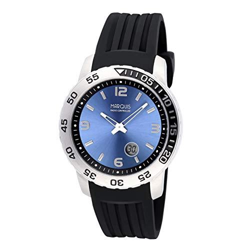 MARQUIS Herren Funkuhr Armbanduhr Edelstahlgehäuse Kautschukarmband mit Edelstahlverschluss 6520