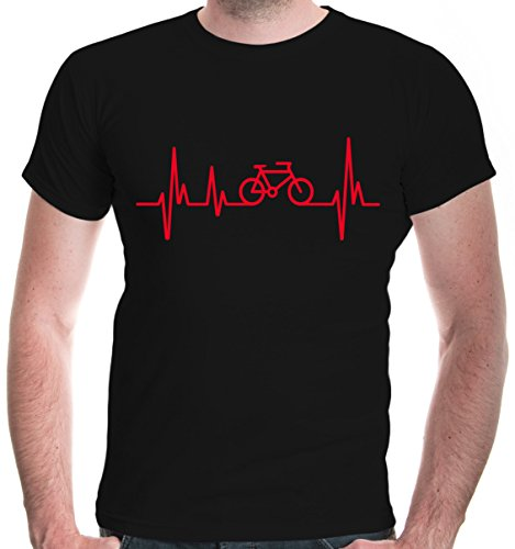buXsbaum® Herren T-Shirt Frequenz Cycle | Fahrrad Bike Rad Bicycle Velo Drahtesel | L, Schwarz