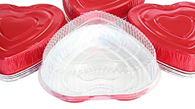 Disposable Aluminum Heart Shaped Baking/Cake Pan with Clear Plastic Lid (100)