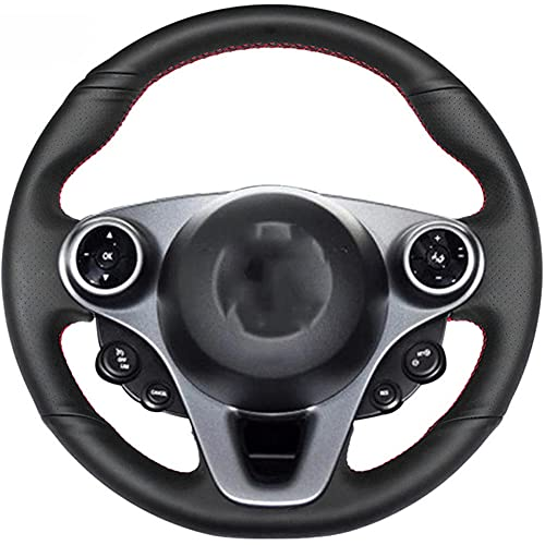 brrCVE Cubierta de Volante de Coche Cosida a Mano de Cuero Negro, para Mercedes-Benz Smart New Fortwo Forfour 2015-2017