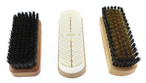 Huishoudelijke penseelset - bestaat uit kleding borstel perenhout en natuurlijke haren + suède borstel + napa lederen borstel, made in Germany