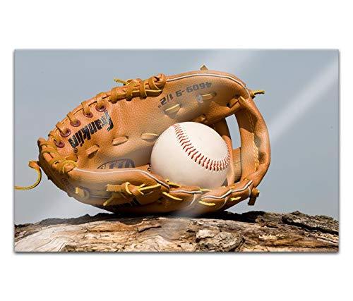 Acrylglasbilder 80x50cm Baseball Ball Handschuh auf Holz Sport Acryl Bilder Acrylbild Acrylglas Wand Bild 14H1178