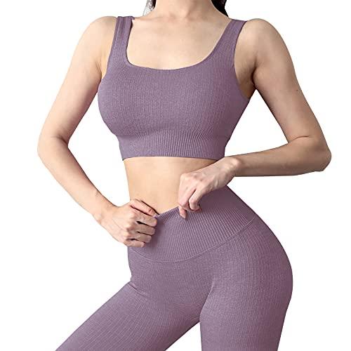Mayround Traje de yoga sin costuras 2 piezas acanaladas | Leggings de cintura alta conjunto de ropa de gimnasio | Conjunto de ropa deportiva para mujer