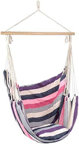 XCJJ Pequeña Hamaca Columpio for la terraza, Relajante jardín al Aire Libre de los Asientos, Almohada Acolchada, Interior, Exterior, Banda de algodón de Lona de la Playa (Verde) (Color : Purple)