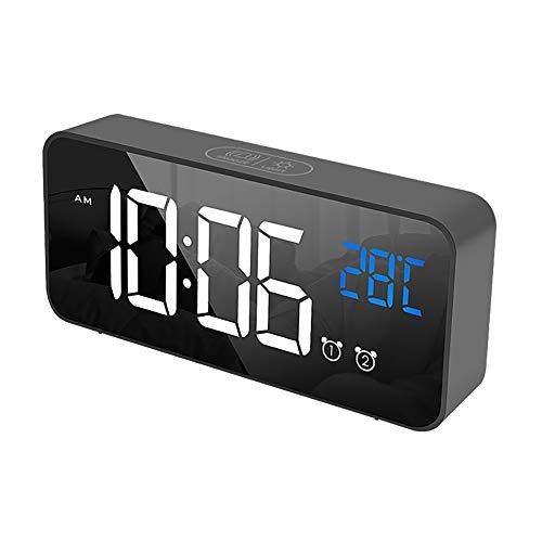 Qlans LED Sveglia Digitale, Orologio Digitale con sensore del Suono, Temperatura, Snooze, Orologio Portatile per Camera da Letto, casa e Viaggio