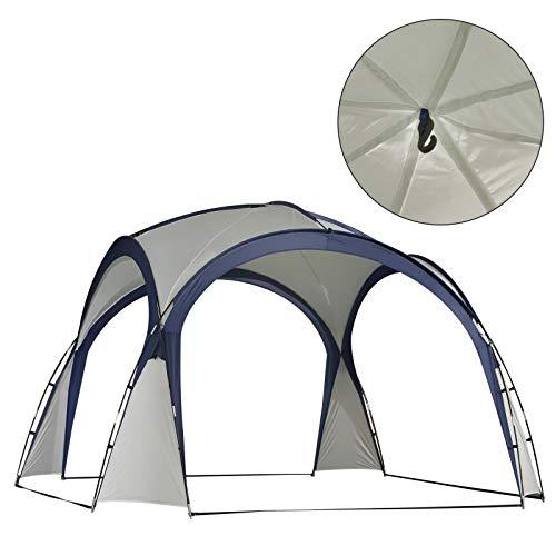 Outsunny Campingzelt Gartenzelt Festzelt Partyzelt Sonnenschutz wetterfest Glasfaserstange + Polyester Cremeweiß + Blau 3,5 x 3,5 x 2,3 m