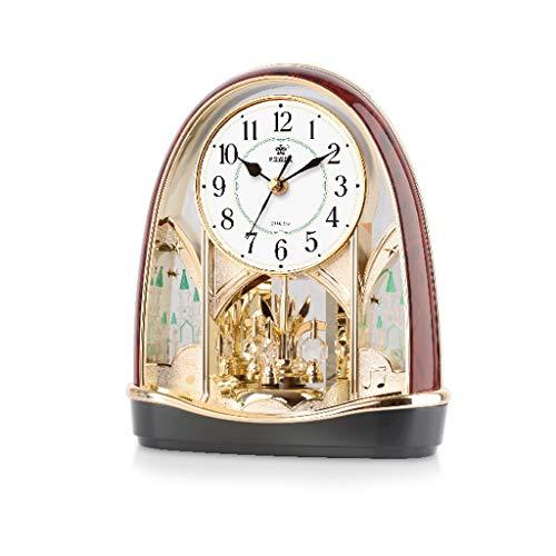 SCDZS Nuevo Reloj de Mesa de Movimiento de cronómetro silencioso 360 Grados Bidireccional Bidireccional Péndulo de Escritorio Reloj de Escritorio Dormitorio (Color : Gold)
