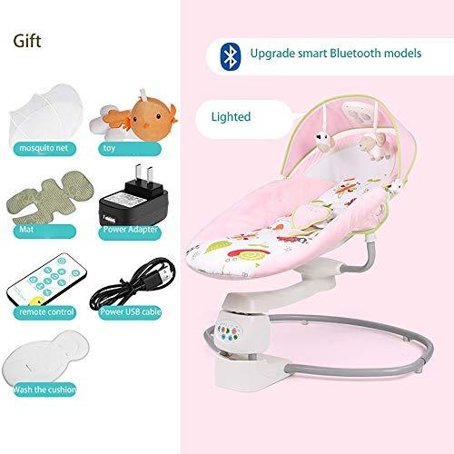 GAOJIN Hamacas Bebé Automática Música Bluetooth Hamacas Bebe Vibracion Asiento Se Puede Girar 360 ° Balancee 24 Veces En 1 Minuto Timing Function Ajuste De Arco De Tres Velocidades