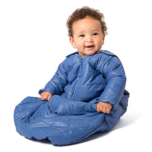 baby deedee Sleep Nest Travel Quilted Baby Sleeping Bag Sack with Sleeves, Gray Skies, Small (0-6 Months)