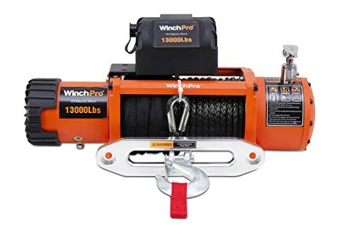 WinchPro - Cabrestante Eléctrico 12V 5900kg/13000lbs, 26m De Cuerda De Dyneema Sintética, 2 Mandos A Distancia Incluidos (1 Inalámbrico, 1 Cable), Para Offroad, 4x4, Remolques