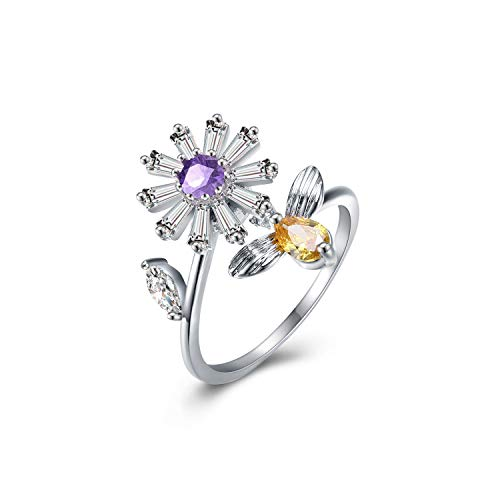 Women's Purple Adjustable Rotating Ring Anti-Anxiety Open Flower and Bee Crystals Rings Spinning Rings Party Girls Birthday Gifts for Relieving Boredom ADHD, Anxiety,Autism (Purple)