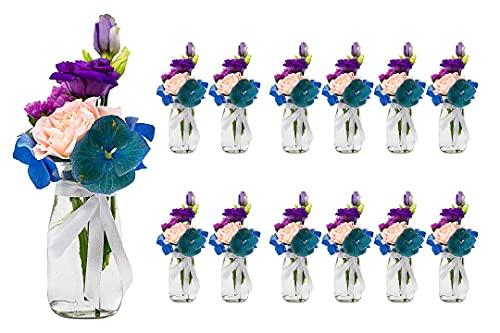 casavetro - Lot de 12 petits vases en verre transparent avec ruban blanc au mètre, pour décoration de mariage