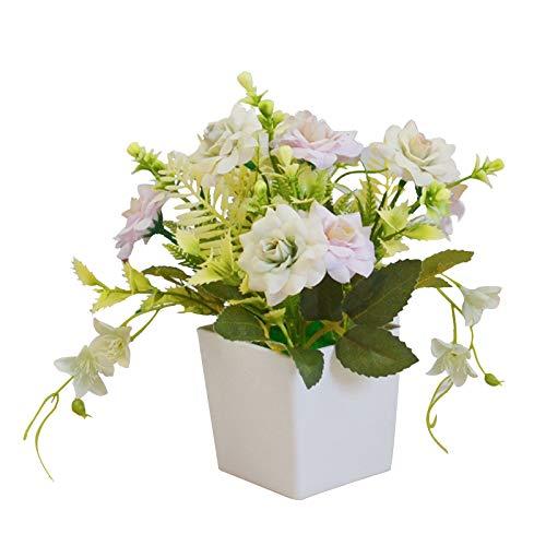 Olymajy Flores Artificiales Exterior macetas Rosas de Seda plástico Artificiales Altamente realistas para la Oficina del...
