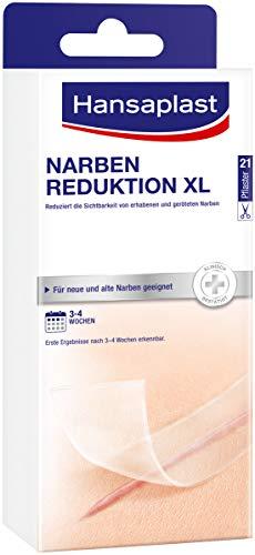 Hansaplast Narben Reduktion, Narbenpflaster zur Reduktion der Sichtbarkeit von Narben, macht Narben dauerhaft flacher, heller und weicher, 1 x 21 Stück, (3 cm x 14,6 cm)