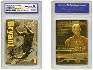 1997 98 KOBE BRYANT Skybox Z Force 23K Gold Signature Card Lakers Yellow Graded GEM MINT 10 product image