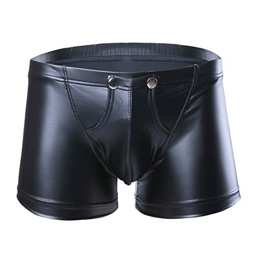 iixpin Herren Boxershorts Unterhose Slip Pants Hipster Kunstleder Wetlook Männer Unterwäsche schwarz Leder Shorts M L XL XXL Schwarz Large