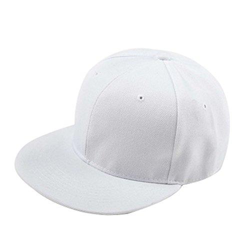 TOOGOO(R) Berretto da Baseball Snapback Pianura di Hip-Hop del Berretto da Baseball Ragazzo Regolabile Cappello Bianco