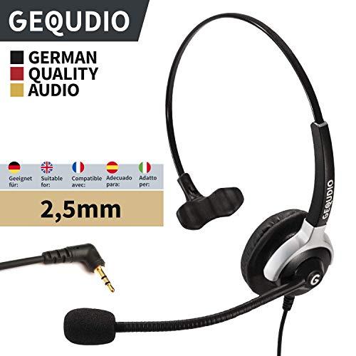 GEQUDIO Auricular con micrófono con 2.5mm Jack para Gigaset DECT®, Cisco SPA®, Panasonic®, Grandstream®, Polycom® teléfonos | 60 g de peso