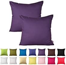 Queenie - 2 Pcs Solid Color Cotton Decorative Pillowcase Cushion Cover for Sofa Throw Pillow Case Available in 14 Colors & 5 Sizes (18 X 18 Inch (45 X 45 Cm), Purple)