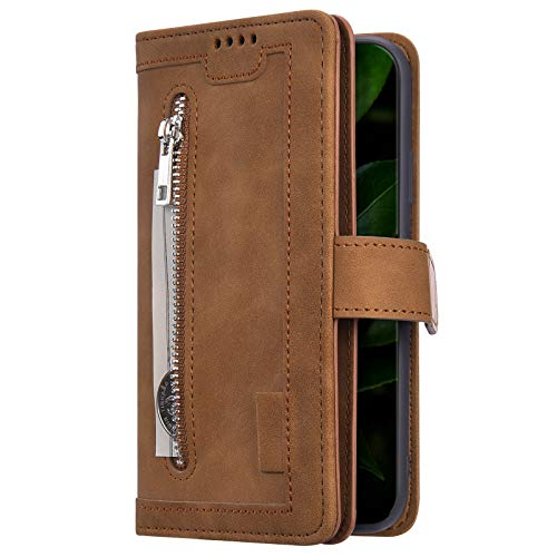 Uposao Kompatibel mit Samsung Galaxy A51 Multifunktion Hülle mit 9 Kartenfach Leder Tasche Geldbörse mit Reißverschluss Männer Jungen Handyhülle Klapphülle Flip Case Magnetische,Braun