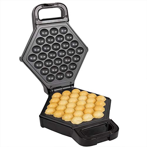Bubble Waffle Maker- Electric Non stick Hong Kong Egg Waffler Iron Griddle (Black)-...