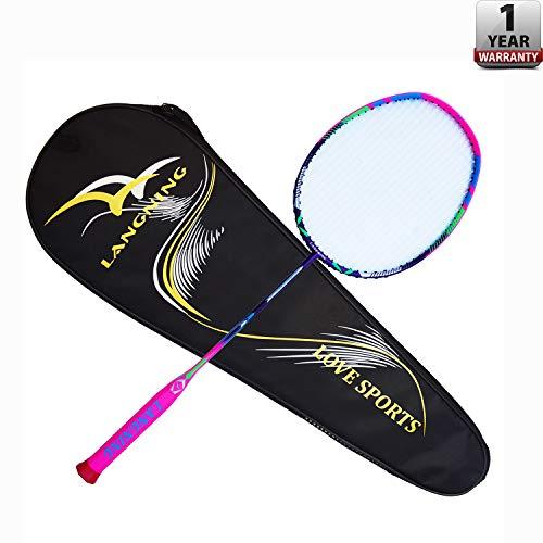 Langning Badmintonschläger Set Carbon Leicht Schläger Power Erwachsene Schule Flexibel Profi mit Tasche 7U(68g)