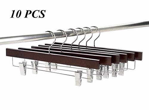 Amber Home Solid Wood Pants Skirt Hangers 10Pcs Smooth Walnut Bottom Wooden Hangers for Slacks Trousers Jeans Shorts with 2-Adjustable Clips, Swivel Chrome Hook (Walnut Color, 10Pcs)