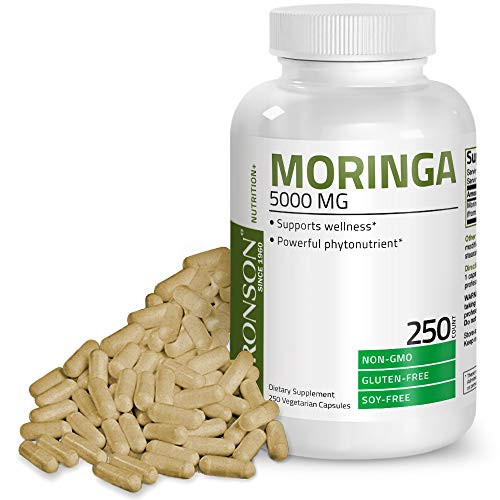 Moringa Oleifera 5000 mg Powder Capsules Extra High Potency 50:1 Extract Energizing Superfood Antioxidant, 250 Vegetarian Capsules