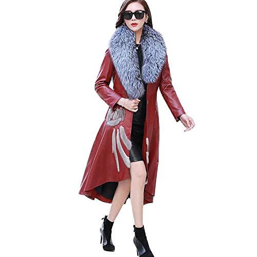WQDS Chaqueta de Cuero para Mujer de otoño e Invierno Abrigo Largo de Cuero Delgado con Cuello de Piel Grande Abrigo de Mujer de Talla Grande-Vino Tinto_7XL