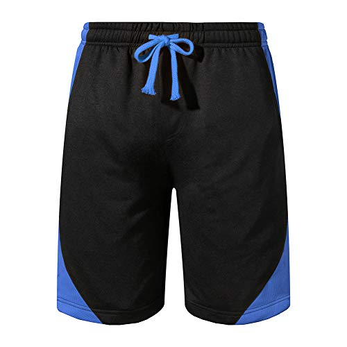 Grimgrow Shorts for Men Casual Summer, Gym Workout Shorts Quick Dry Elastic Waist Training Bodybuilding Running Shorts with Pockets Sportwear Blue XL