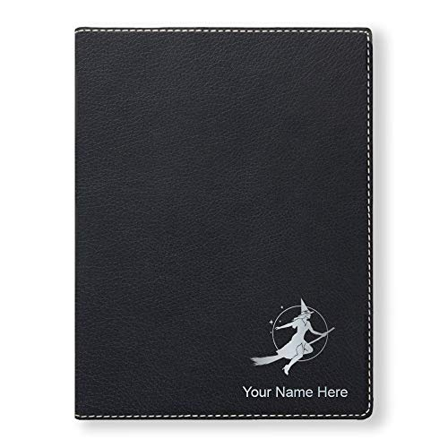 Small Portfolio Notepad, Halloween Sexy Witch, Personalized Engraving Included (Black)