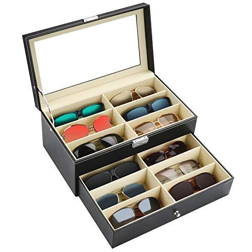 Kurtzy Verschließbare Sonnenbrillen Aufbewahrungsbox 2 Stufig – Brillen Schatulle mit Schloss und Schlüssel, 12 Fächer für 12 Brillen – Brillenhalter Brillenaufbewahrung Schwarz für Sonnenbrille&Uhren