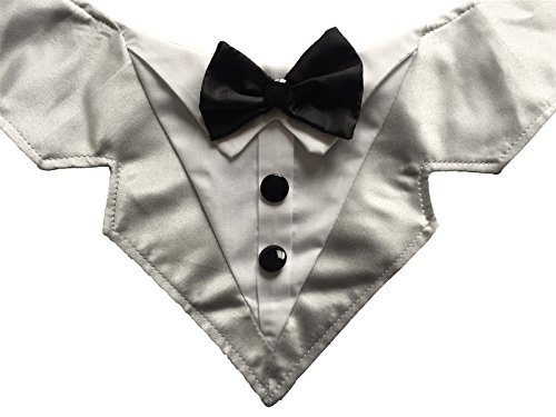Vedem Formal Dog Tuxedo Bandana with Bow Tie Adjustable Pet Satin Triangle Bibs Scarf for Wedding, Party and Birthday (Grey)