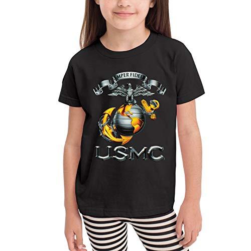 USMC Semper Fidelis Decal Camisetas gráficas para niñas Adolescentes, niños y niñas, Camiseta de Manga Corta, Camisetas de algodón, Camisetas para niños, Tops 2-6t